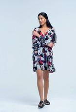Q2 Fashion - printed flower dress met kwasten
