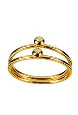 Juulry Juulry - ring - dubbel met bolletje - goldplated silver - small