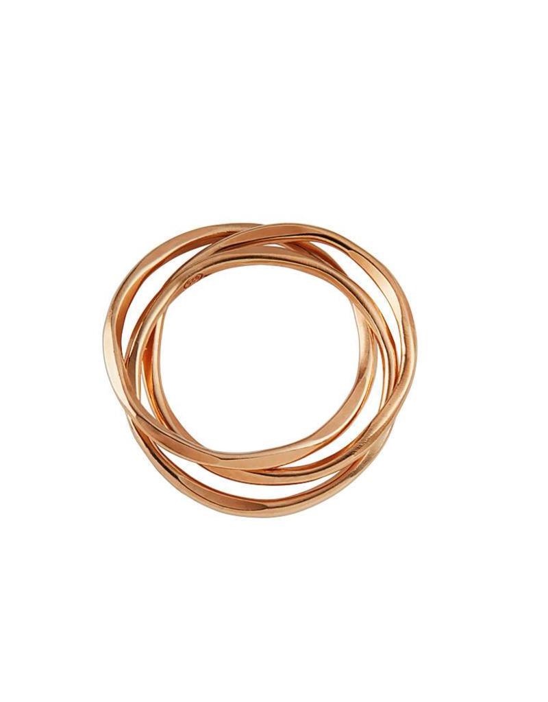 Juulry Juulry - ring - set van 3 in elkaar - goldplated silver - small