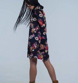 Q2 Fashion - Black shirt dress with flowers S