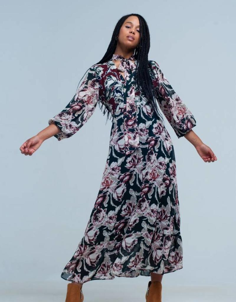 Q2 Fashion - Plum dress with green flowers L