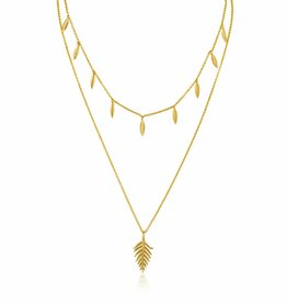 Ania Haie Ania Haie - Leaf double necklace