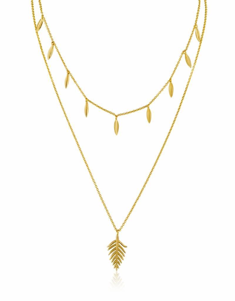 Ania Haie Ania Haie - Leaf double necklace