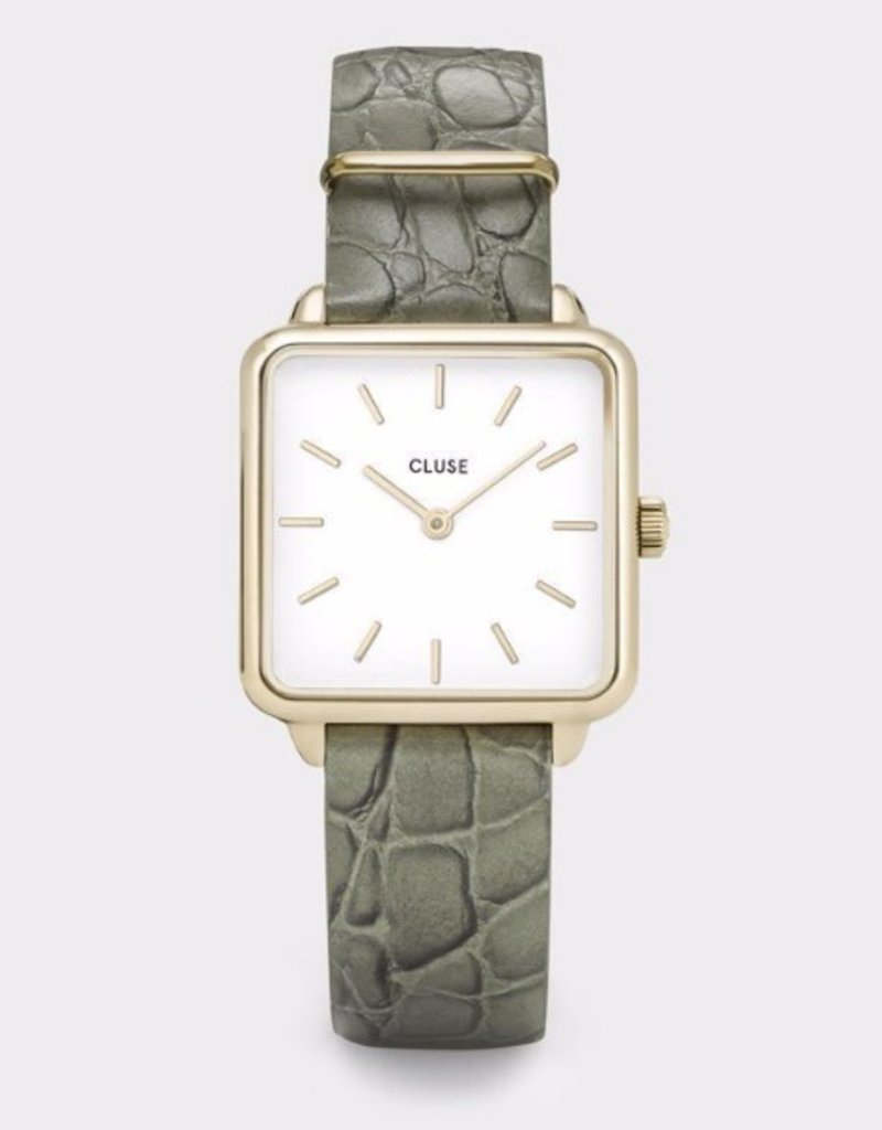 Cluse Cluse- La Tétragone - Gold white/Green alligator