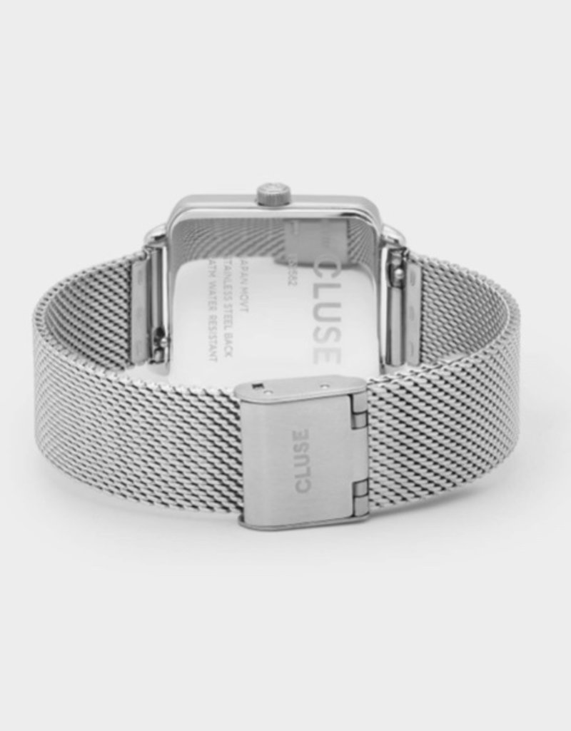 Cluse Cluse- La Tétragone  - Silver mesh/white