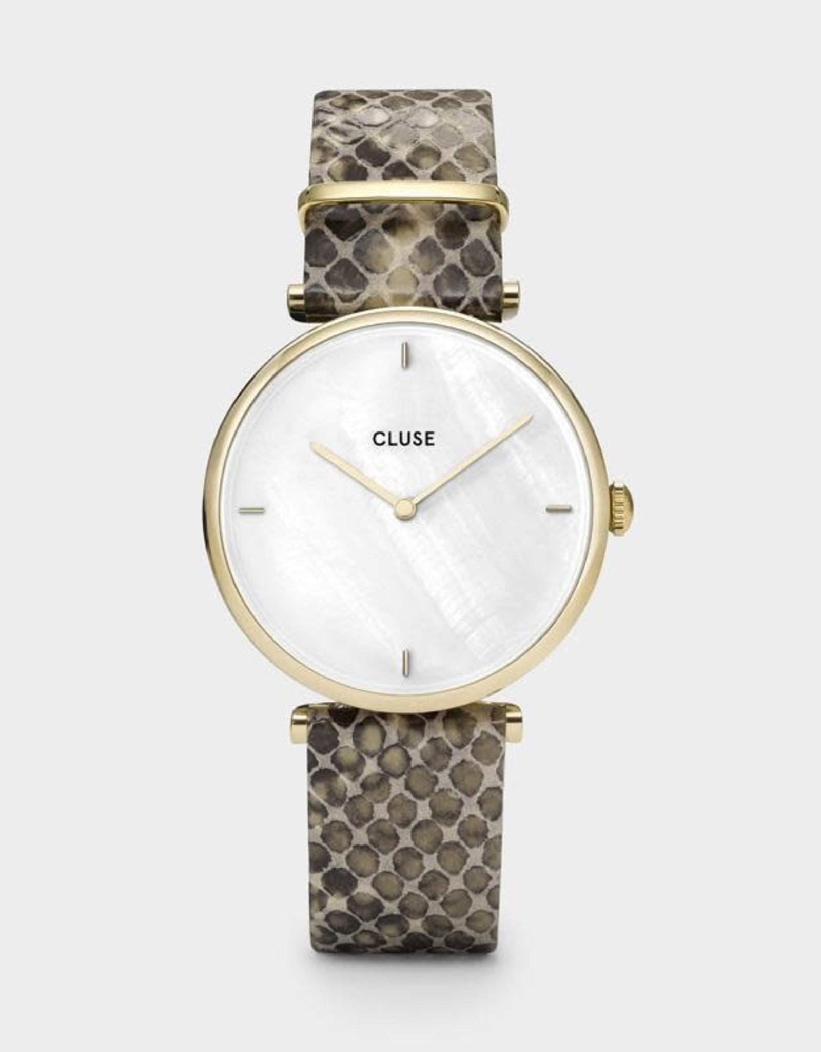 Cluse Cluse - Triomphe Gold White pearl/Soft almond Python