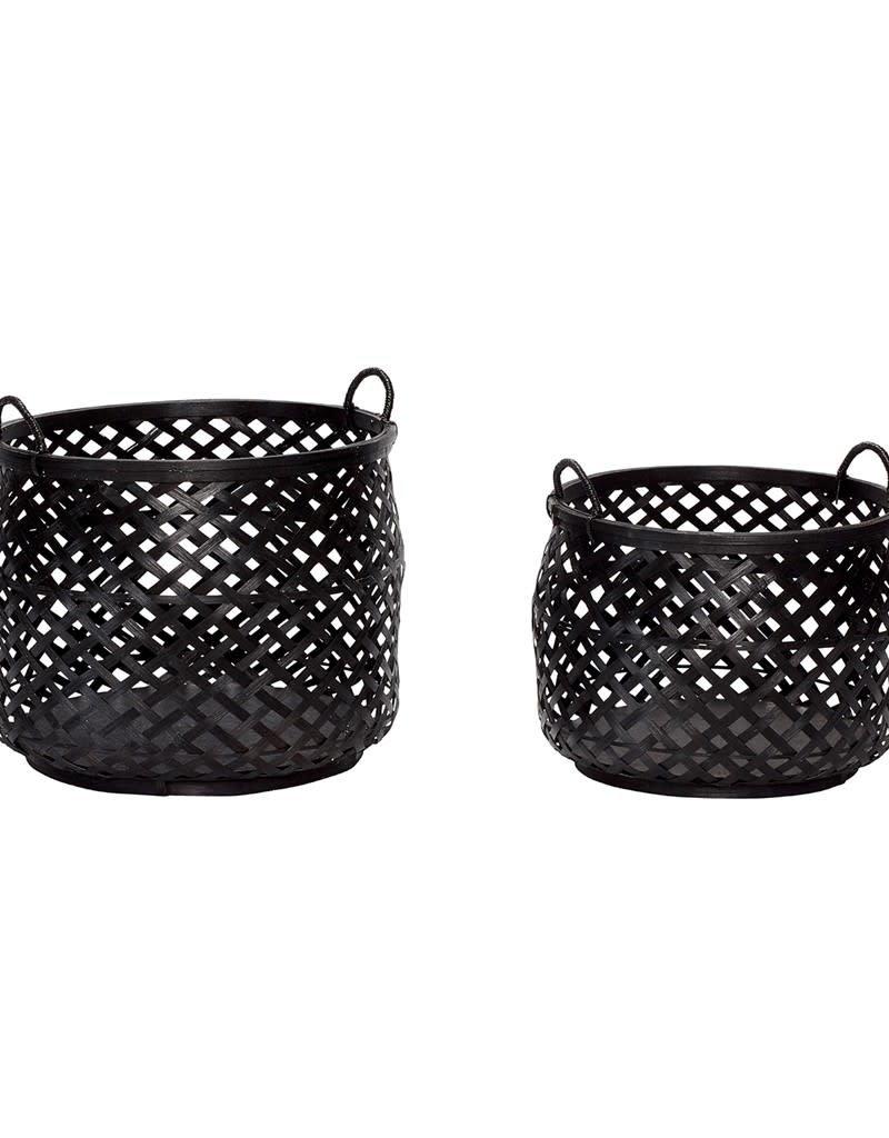 Hubsch Hubsch - Basket w/handle, round, bamboo S
