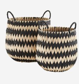 Madam Stoltz Madam Stoltz - Wicker baskets w/handles M - black