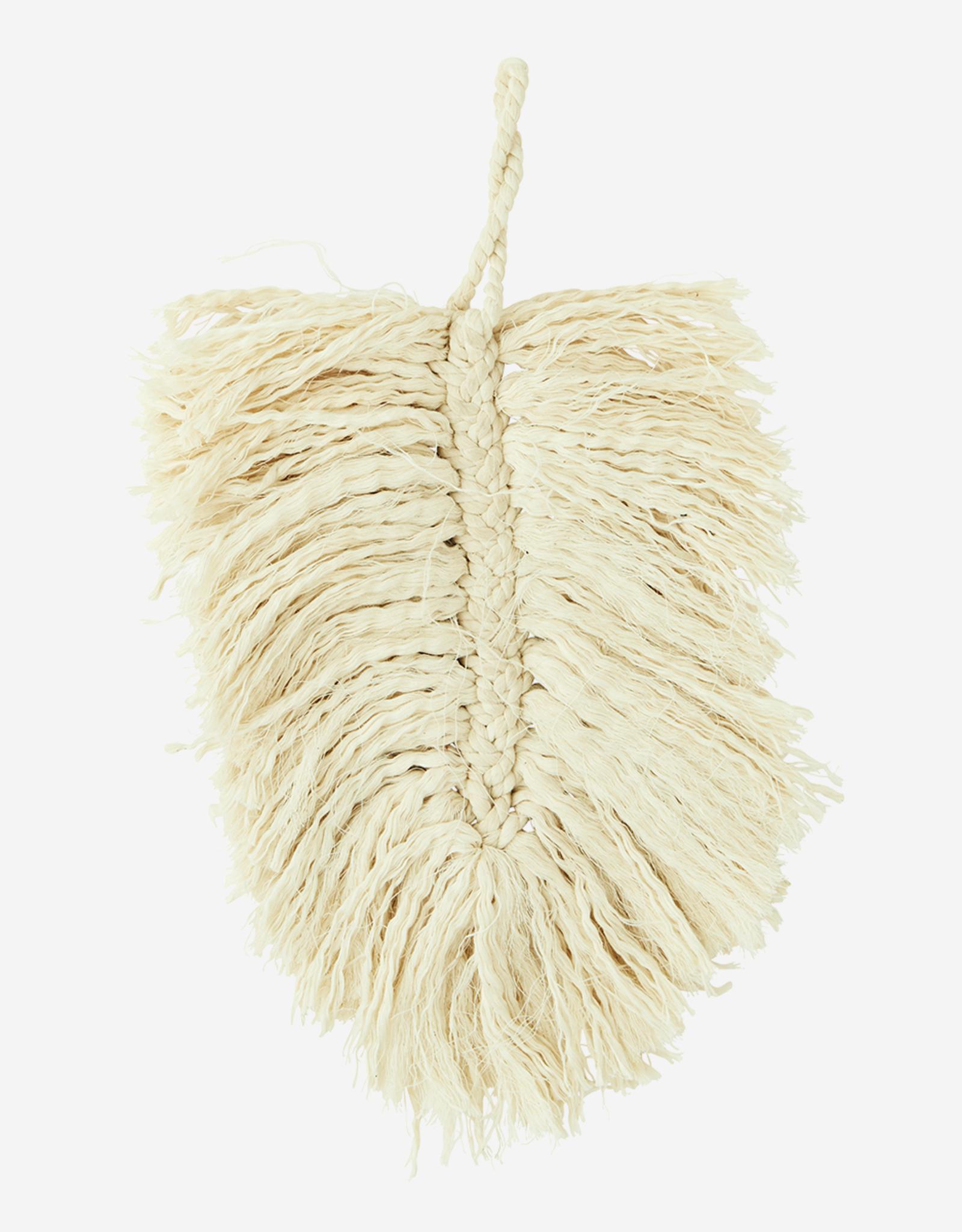 Madam Stoltz Madam Stoltz - Off white, cotton rope leaf S