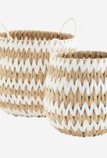 Madam Stoltz Madam Stoltz - Wicker baskets w/handles M - white