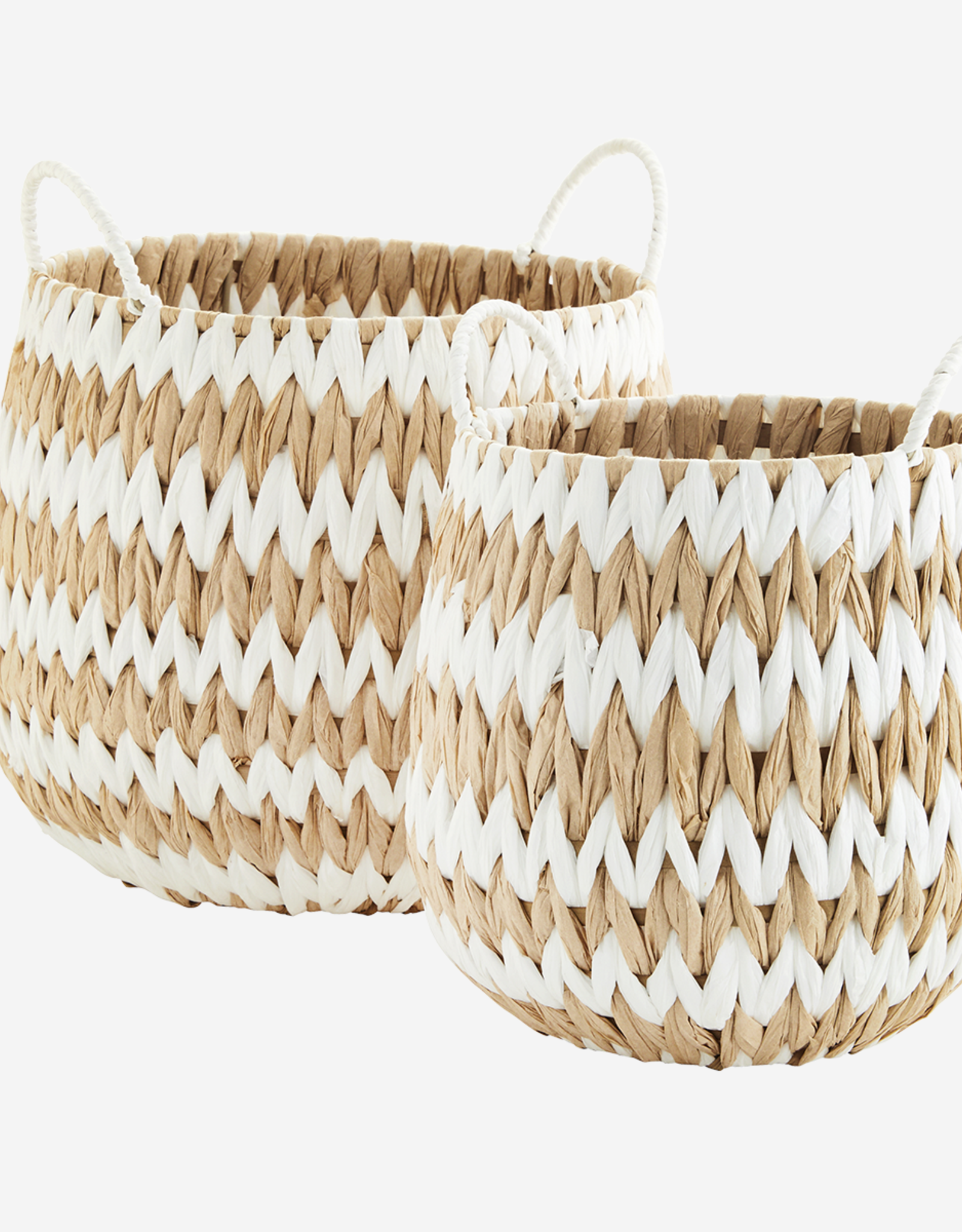 Madam Stoltz Madam Stoltz - Wicker baskets w/handles S - white