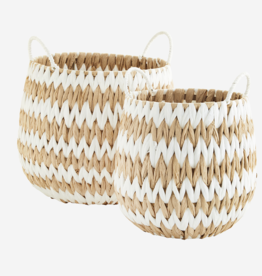 Madam Stoltz Madam Stoltz - Wicker baskets w/handles S - white