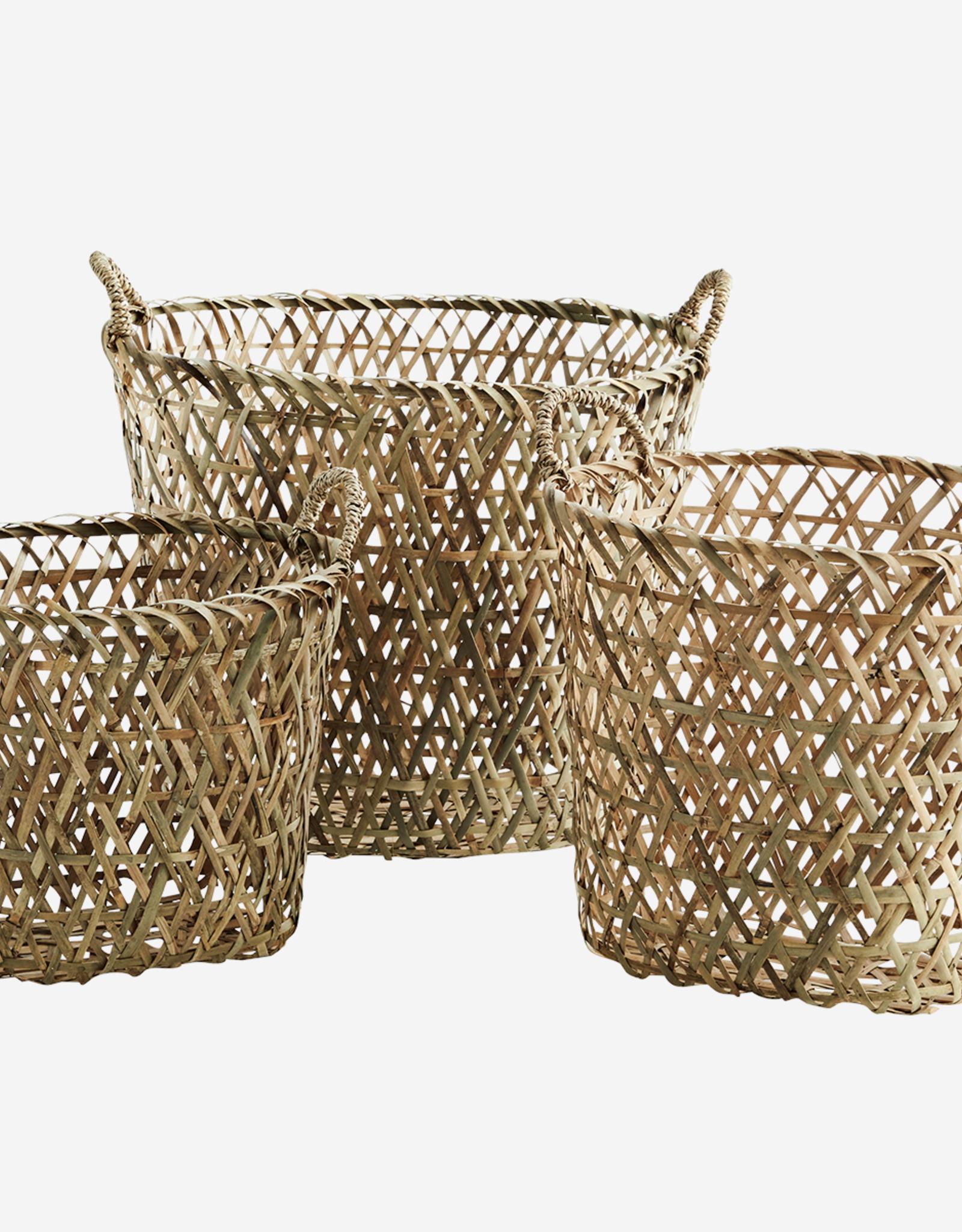Madam Stoltz Madam Stoltz - Oval bamboo baskets w/handle natural - L