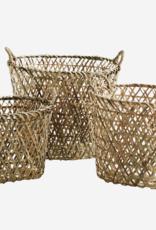 Madam Stoltz Madam Stoltz - Oval bamboo baskets w/handle natural - M