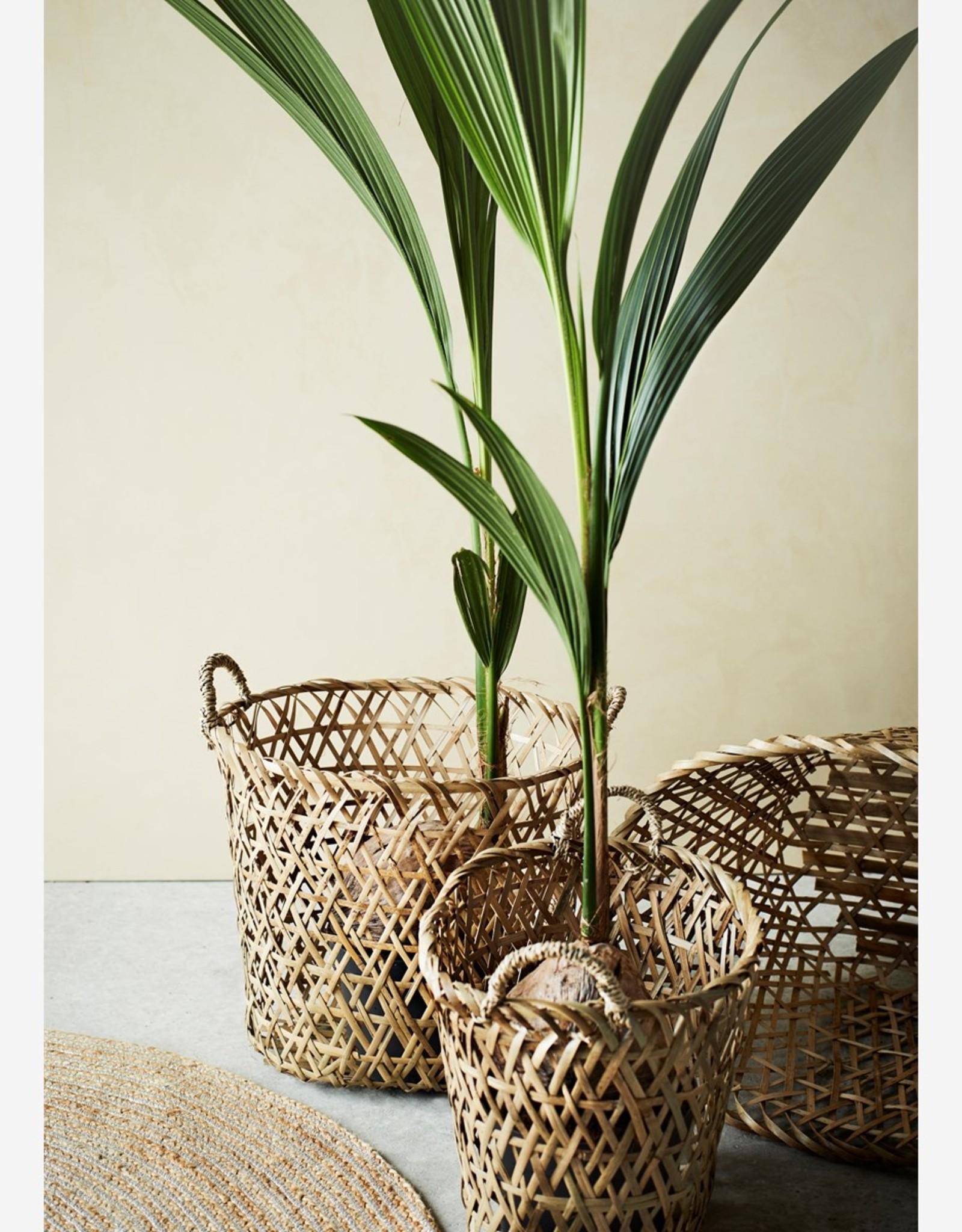 Madam Stoltz Madam Stoltz - Oval bamboo baskets w/handle natural - S