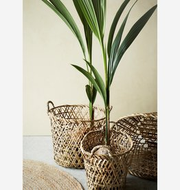 Madam Stoltz Madam Stoltz - Oval bamboo baskets w/handle natural - S
