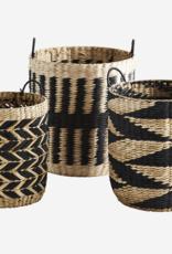 Madam Stoltz Madam Stoltz - Grass wicker baskets - nat/black L