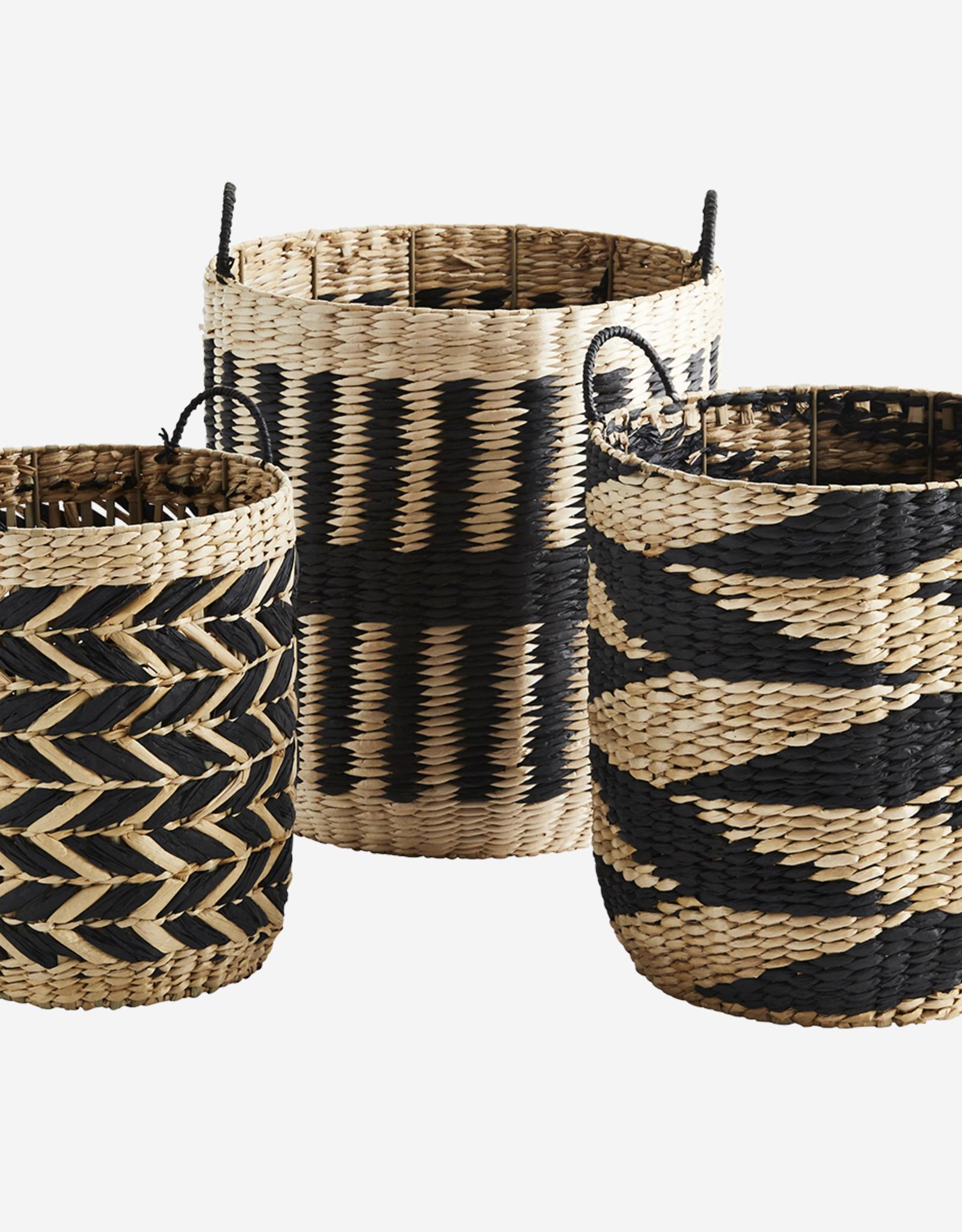 Madam Stoltz Madam Stoltz - Grass wicker baskets - nat/black M