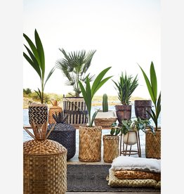 Madam Stoltz Madam Stoltz - Grass wicker baskets - nat/black L
