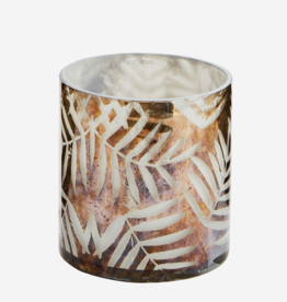 Madam Stoltz Madam Stoltz - Glass votive w/leaves