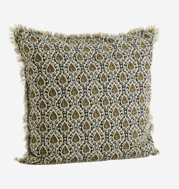 Madam Stoltz Madam stoltz - Cushion black - offwhite - olive & filling 50x50
