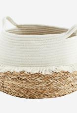 Madam Stoltz Madam Stoltz - cotton rope basket with fringes - natural white
