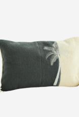 Madam Stoltz Madam stoltz - Embroidered cushion grey palm - 40 x 60