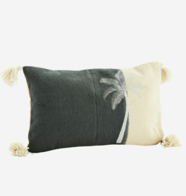 Madam Stoltz Madam stoltz - Embroidered cushion grey palm - 40 x 60