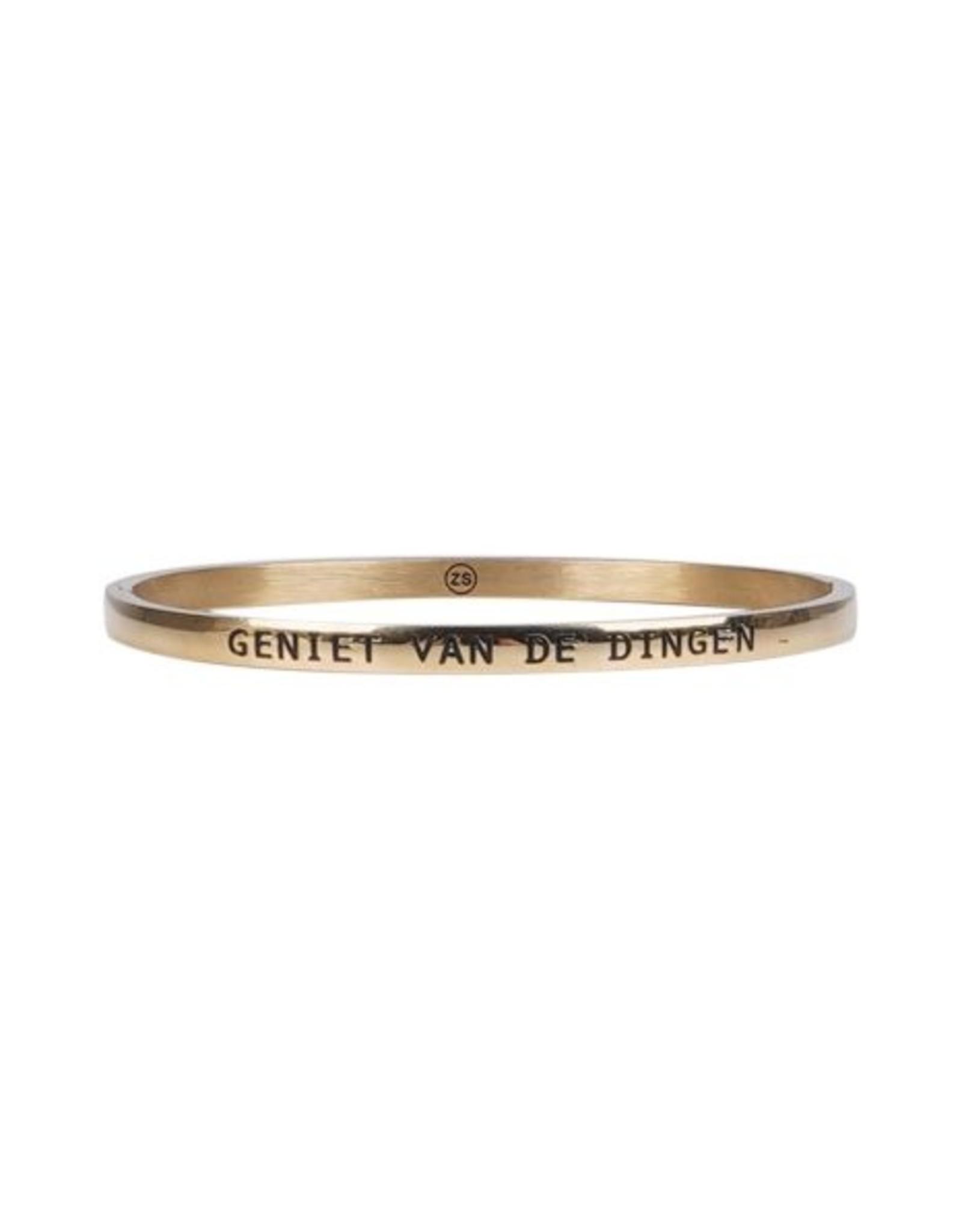Zusss Zusss - Armband met tekst geniet goud