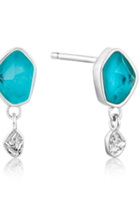 Ania Haie Ania Haie - Turquoise drop stud earrings silver