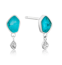 Ania Haie Ania Haie - Turquoise drop stud earrings silver