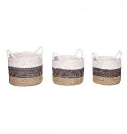 Hubsch Hubsch - Basket w handle - nature/grey/white - Small