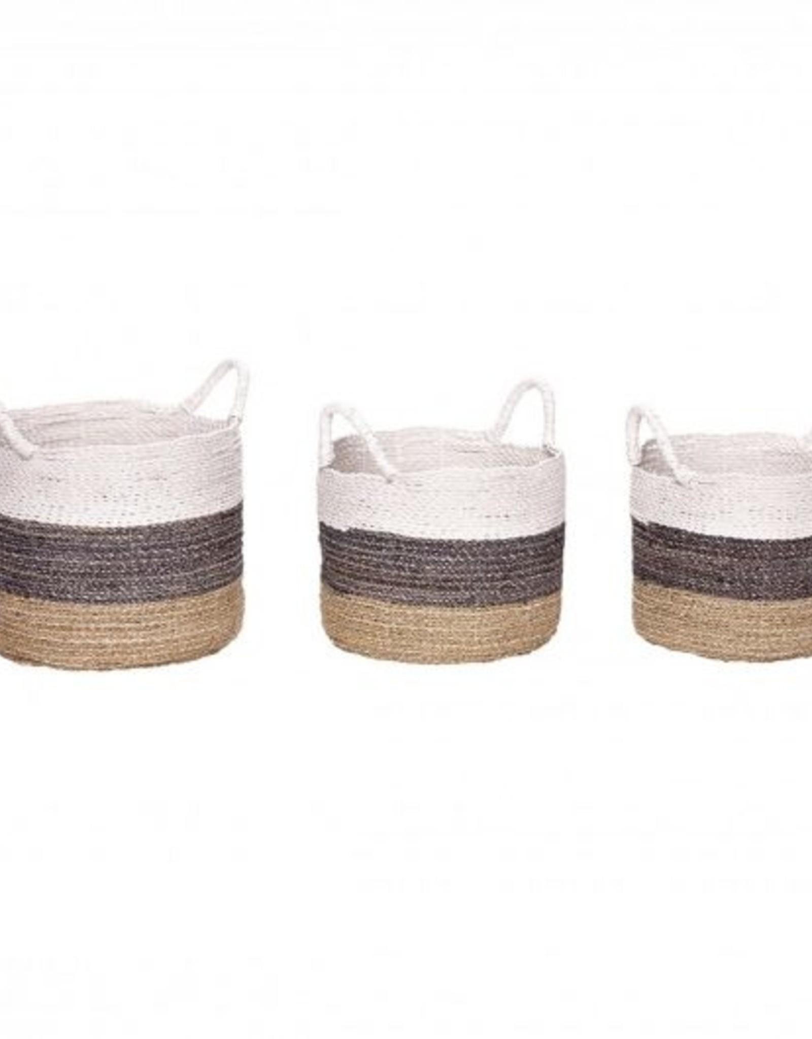 Hubsch Hubsch - Basket with white edge, round, seagrass - Large