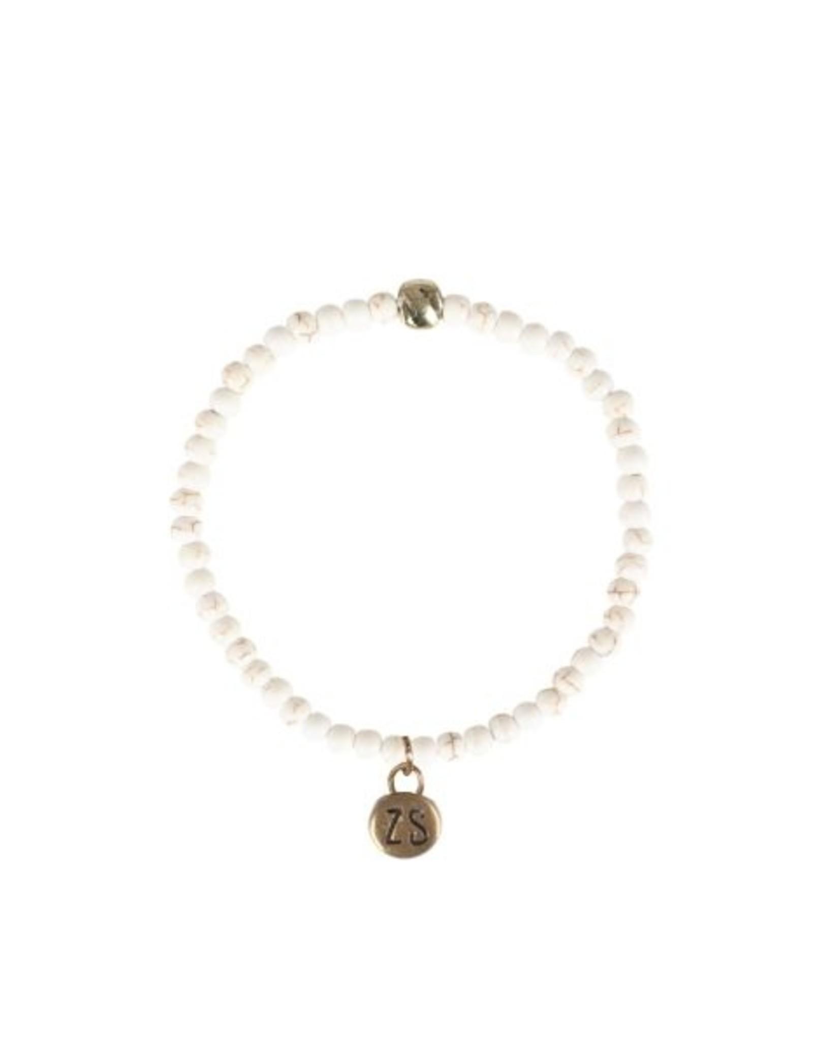 Zusss Zusss - Armband marmerkraal wit