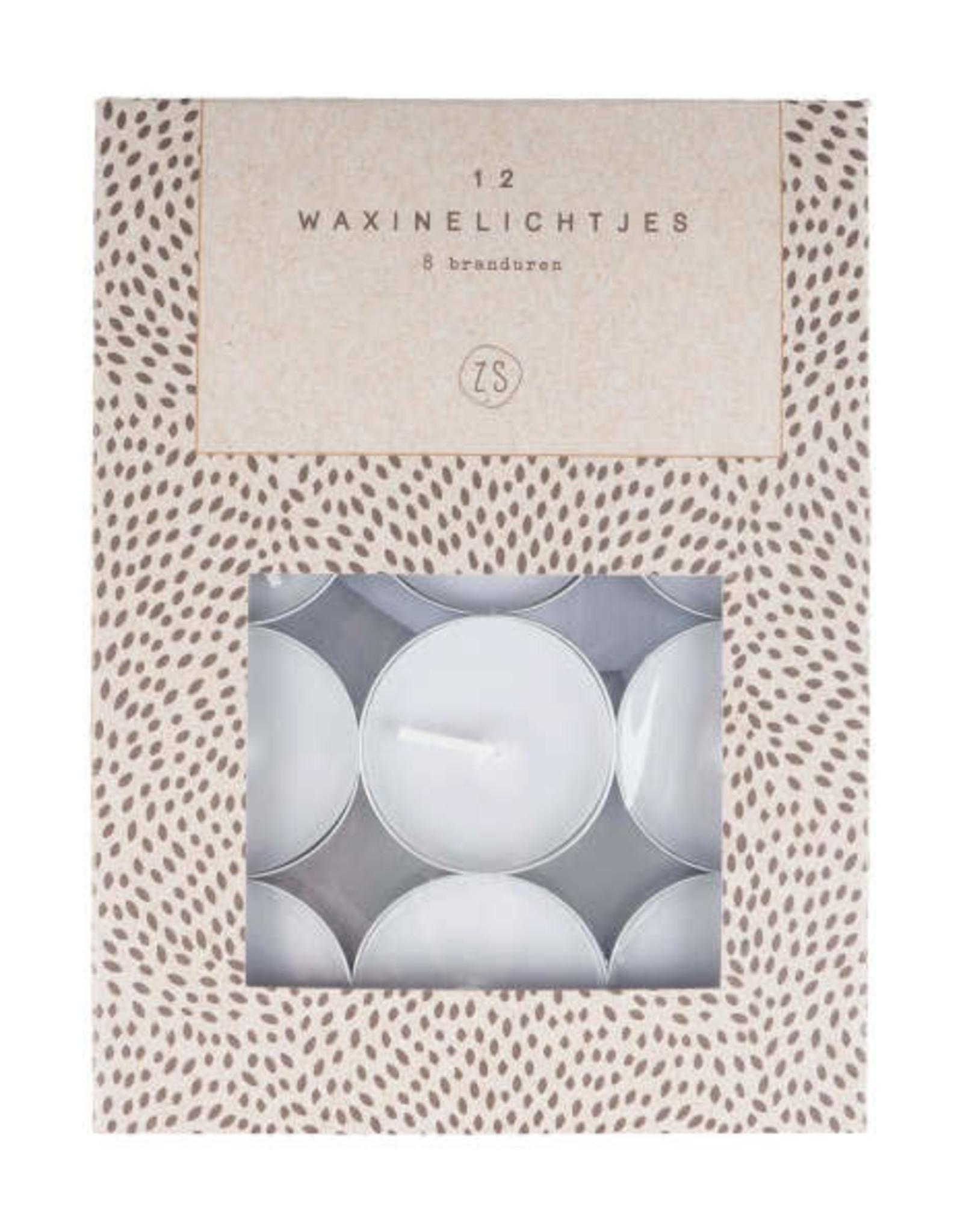Zusss Zusss - set van 12 waxinelichtjes  grijs