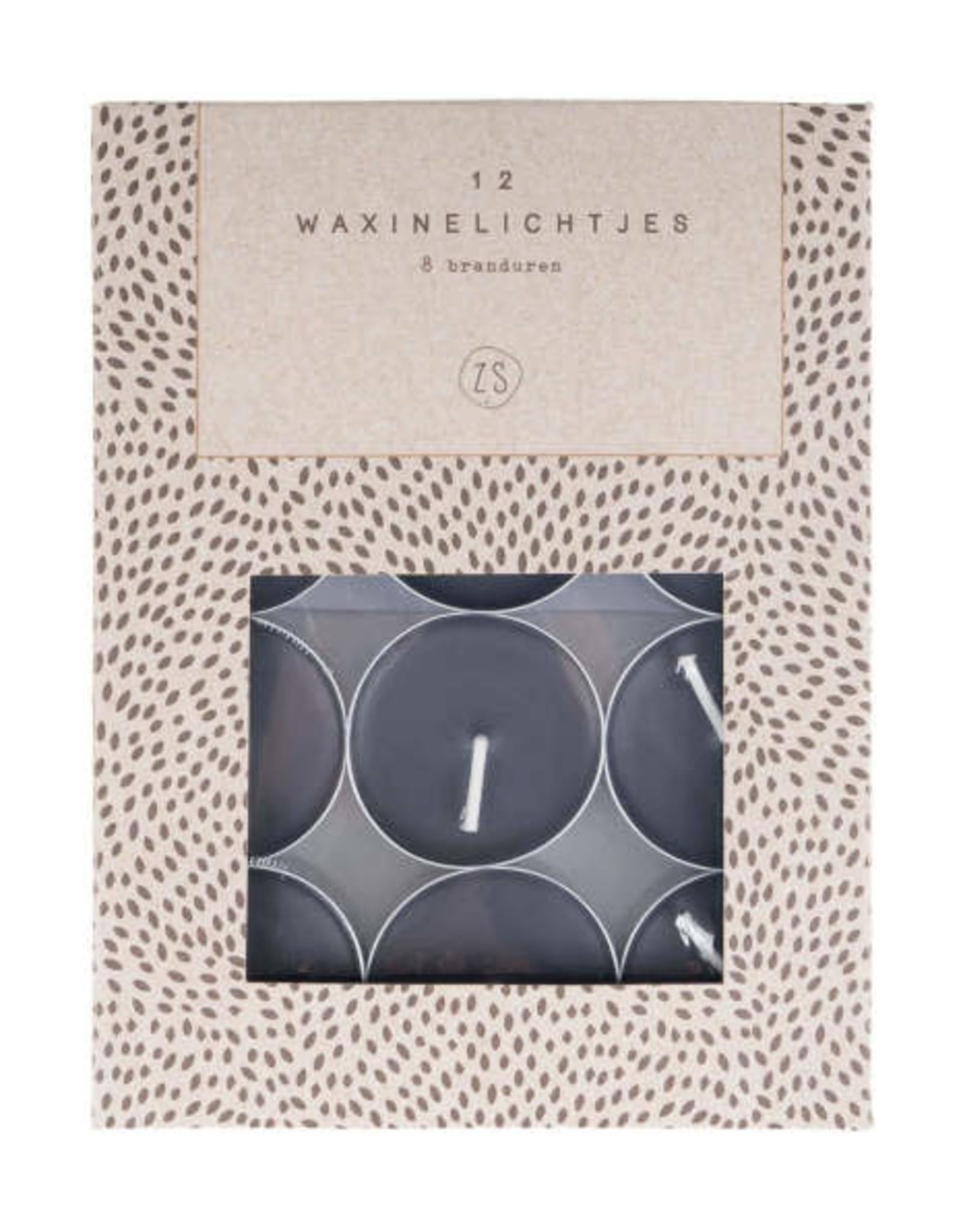 Zusss Zusss - Set van 12 waxinelichtjes zwart