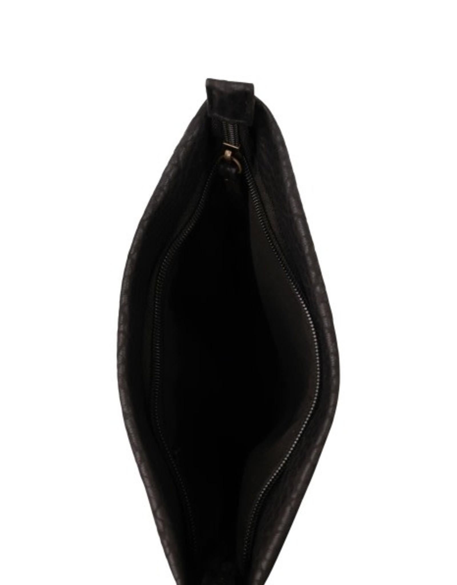 Zusss Zusss - basic schoudertas S zwart gevlokt