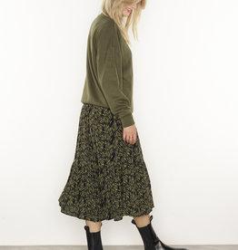 Moss Copenhagen MSCH - Calie maroco skirt - sage zebra