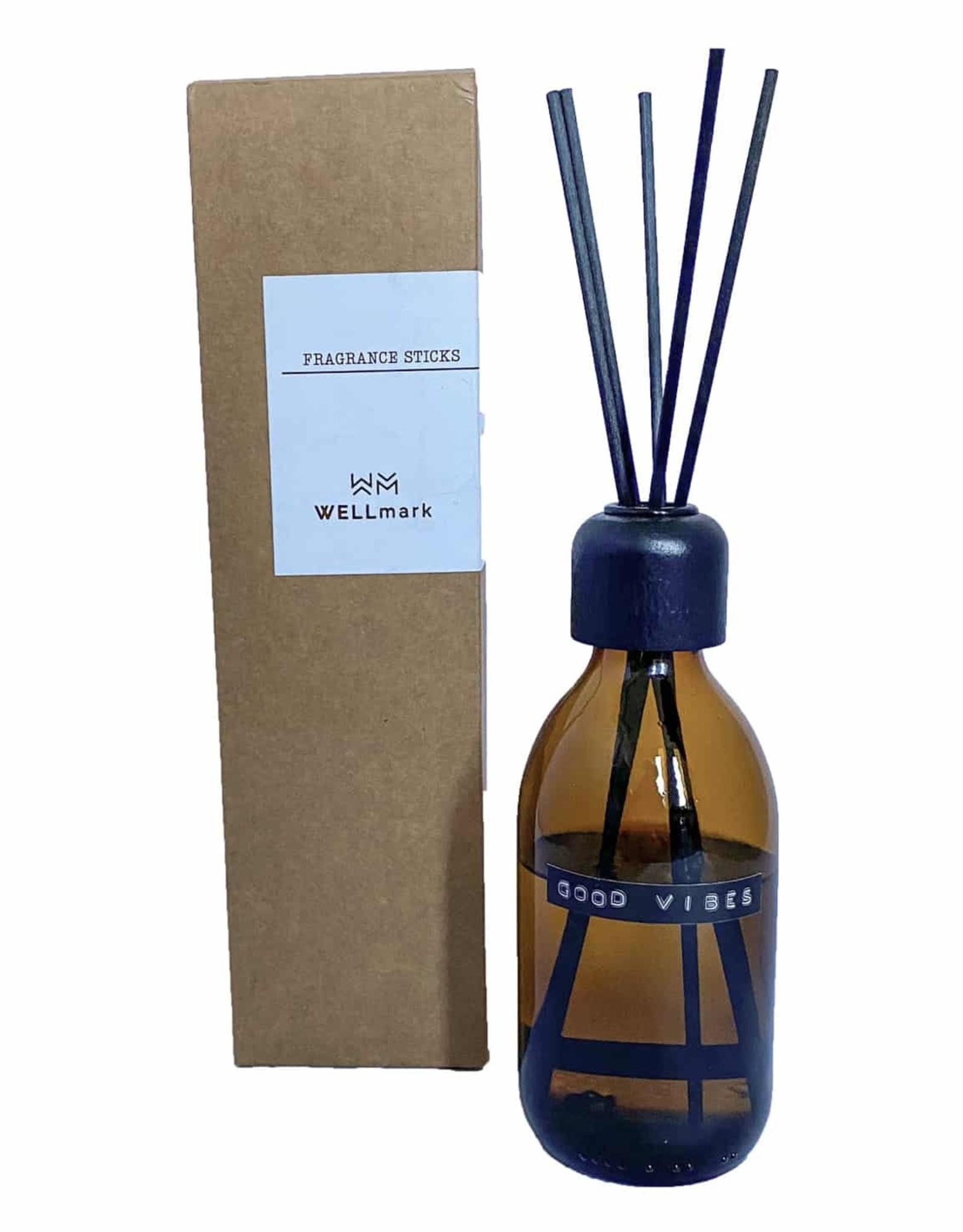 Wellmark Wellmark - Geurstokjes bruin glas 250 ml - good vibes