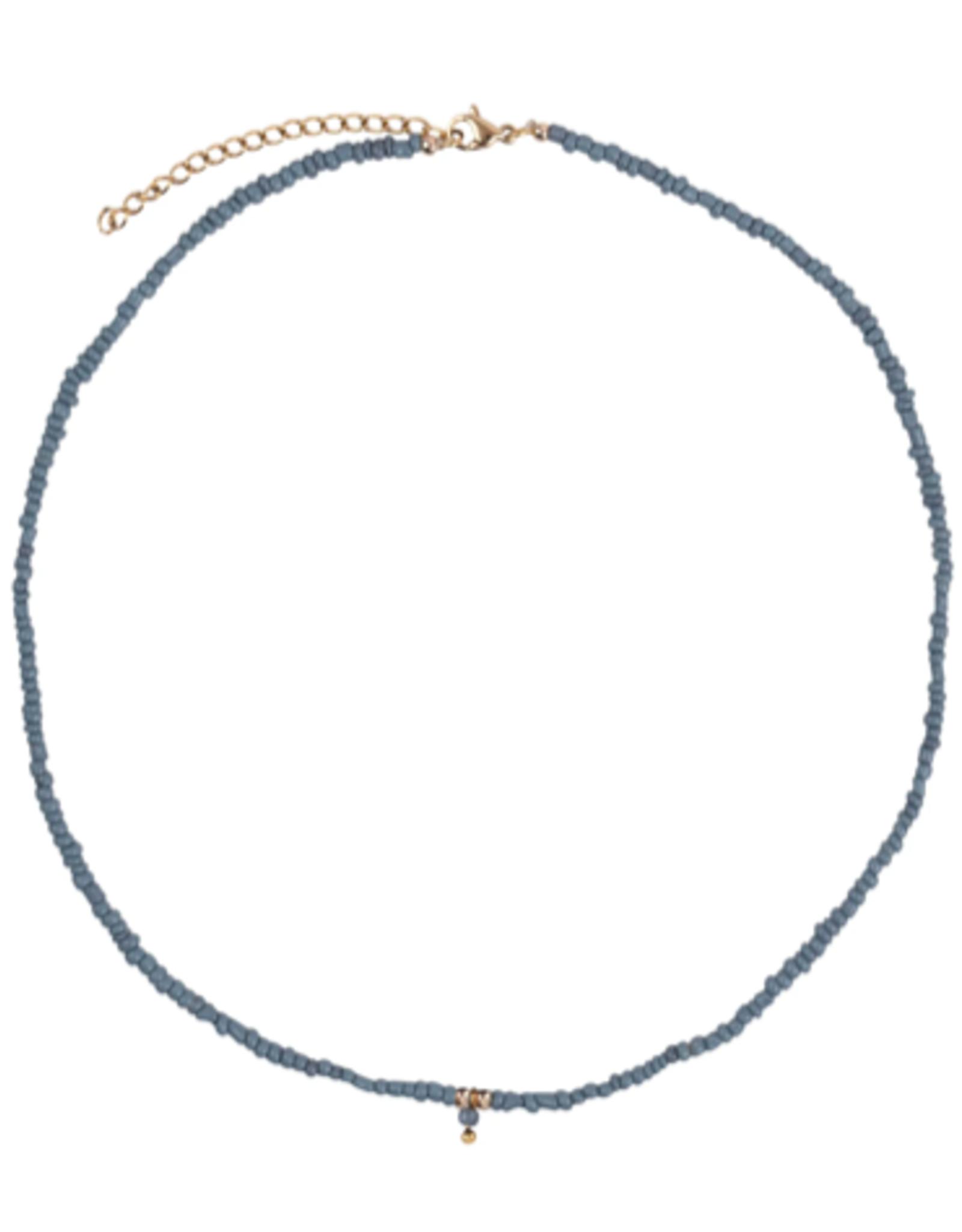 Zusss Zusss - ketting met kraaltjes grijs-blauw/goud