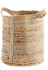 Madam Stoltz Madam Stoltz - Jute bag with stripes silver