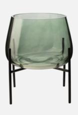 Gusta - Glazen vaas groen met standaard