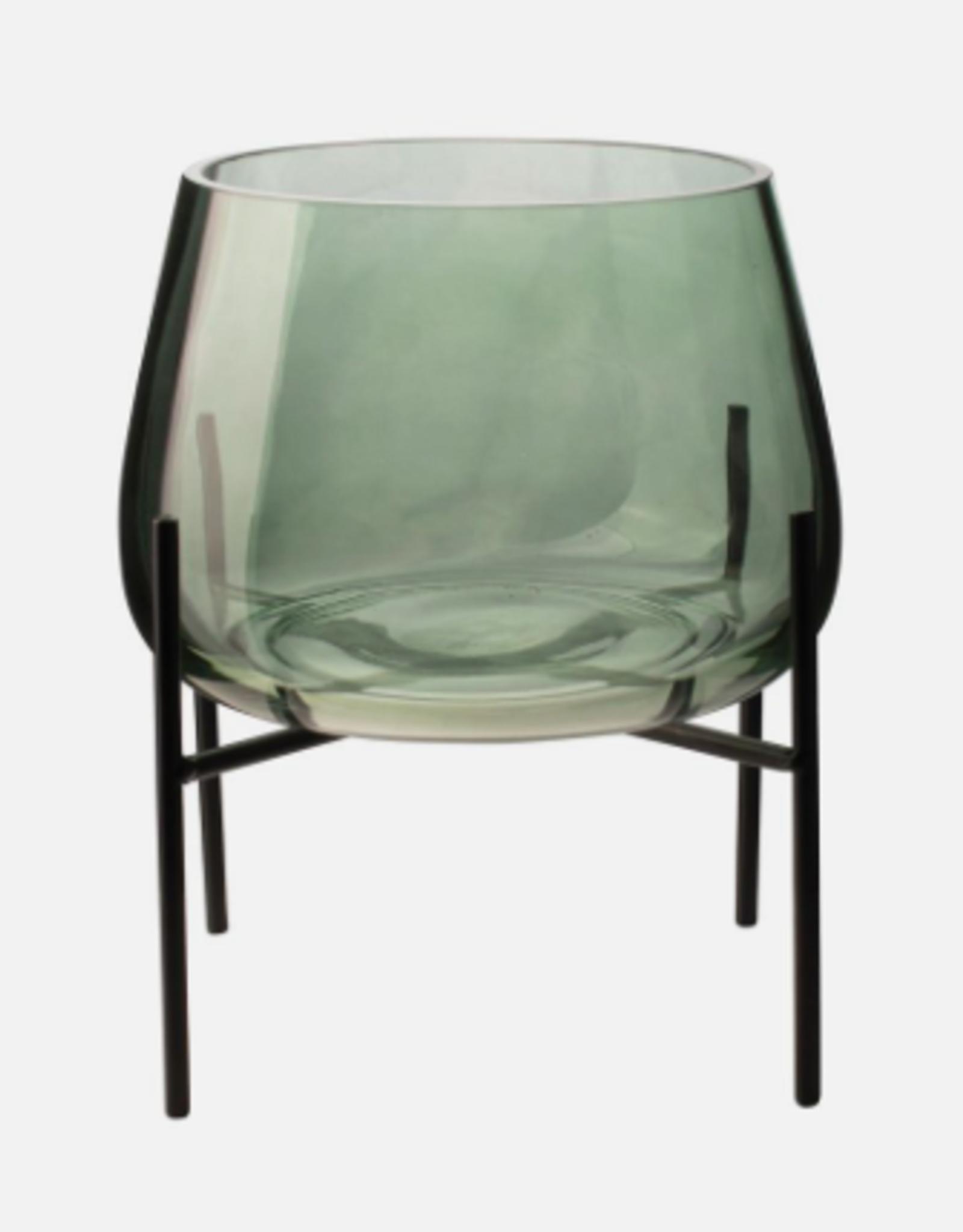 Gusta Gusta - Glazen vaas groen met standaard