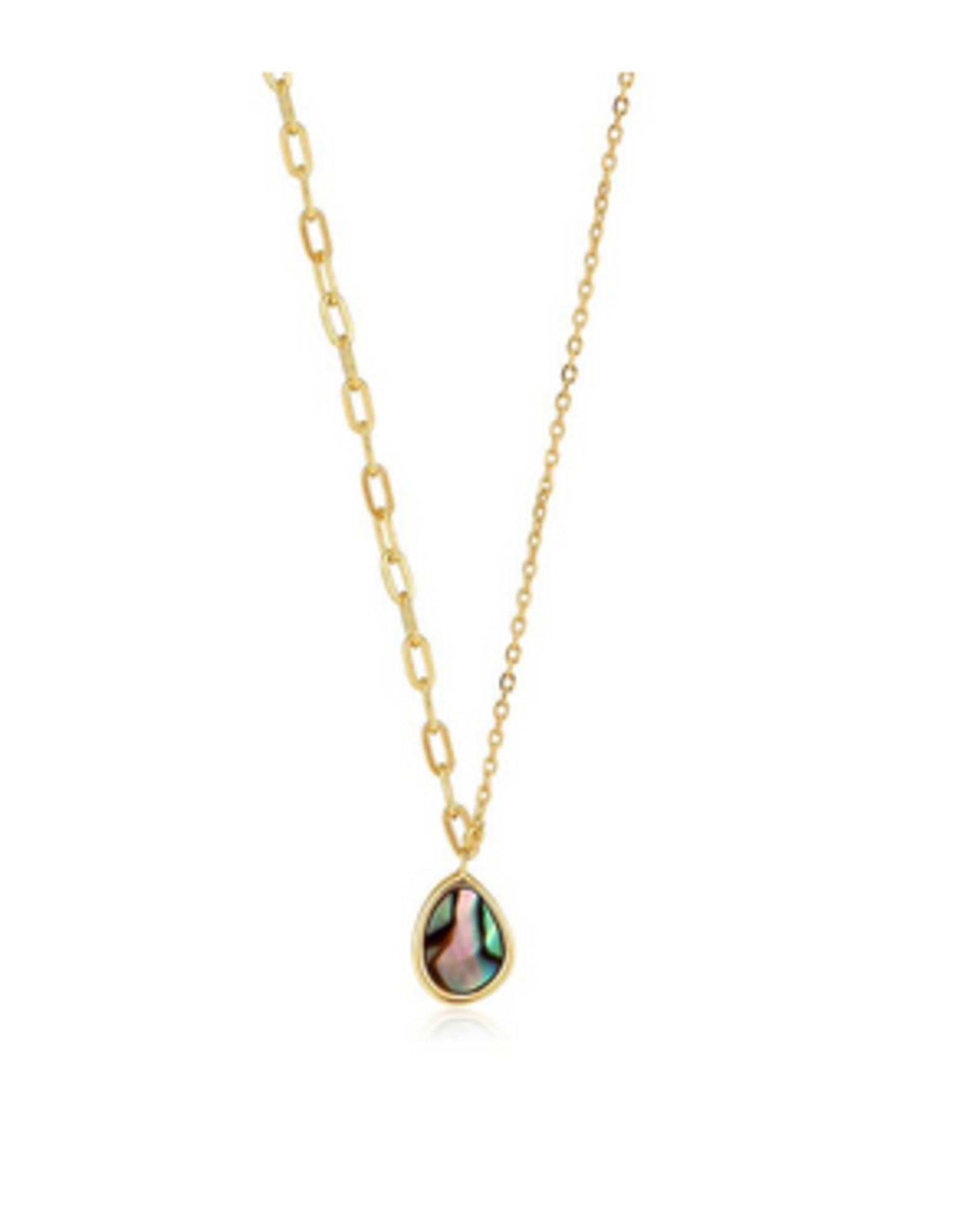 Ania Haie Ania Haie - Tidal abalone mixed link necklace - gold