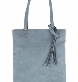 Zusss Zusss - Basic shopper met kwast grijs-blauw
