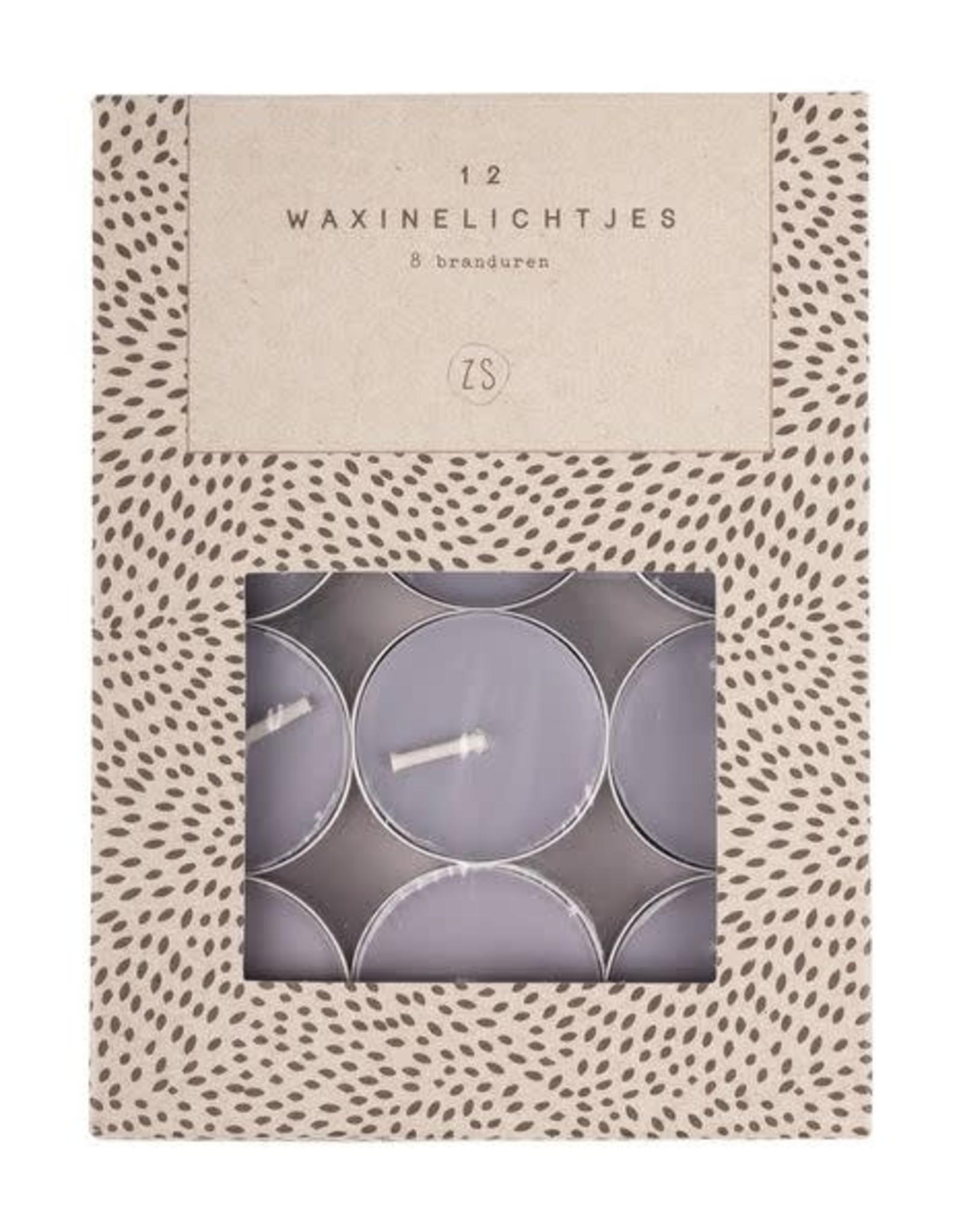 Zusss Zusss - Set van 12 waxinelichtjes grijs-blauw