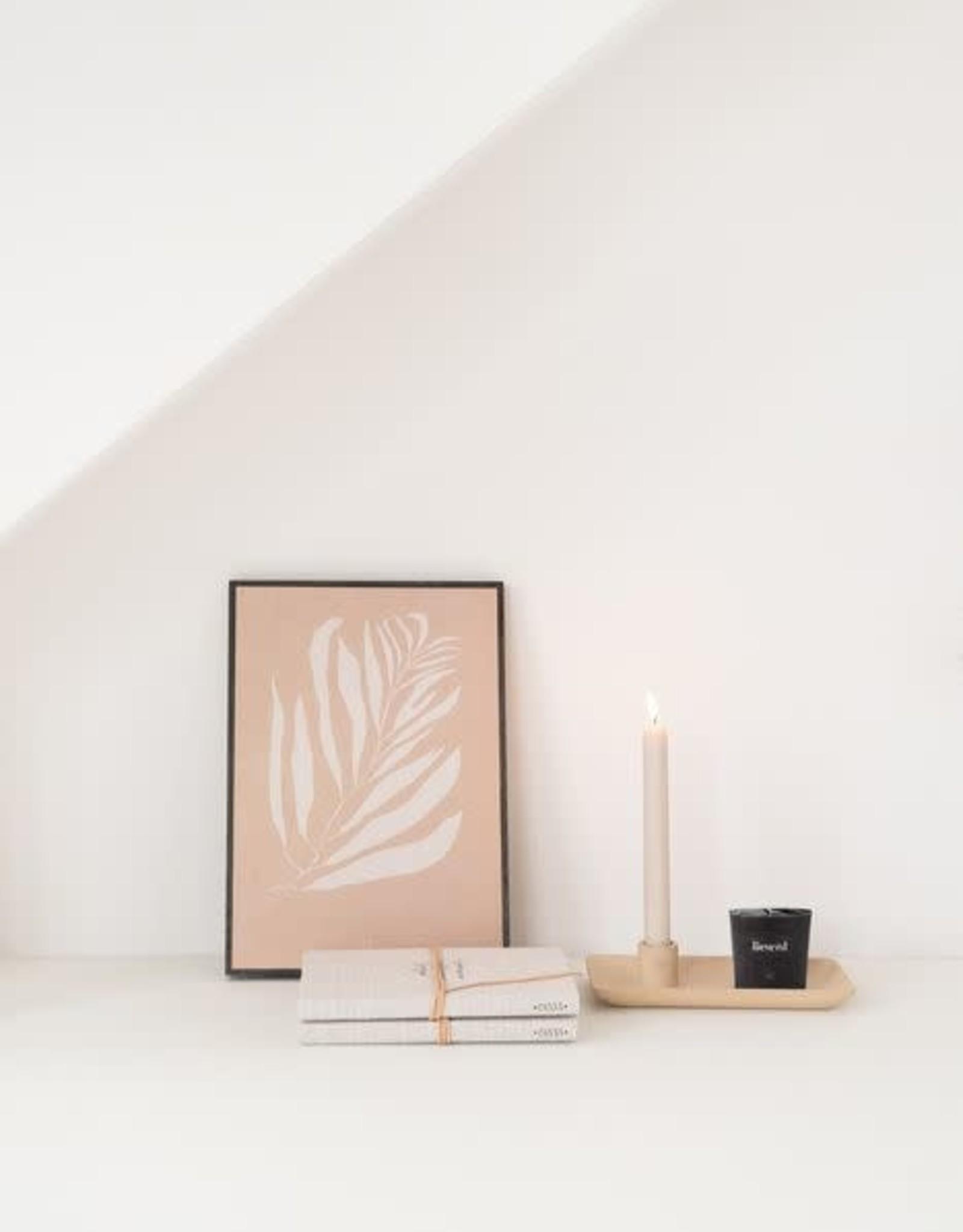 Zusss Zusss - Kandelaar met blad keramiek zand