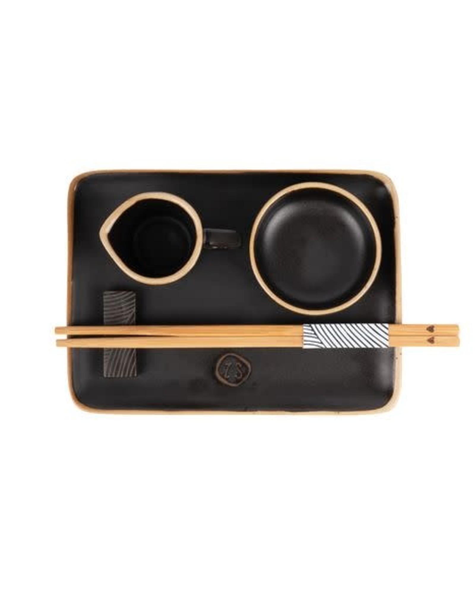 Zusss Zusss - Set sushi servies aardewerk zwart