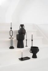 Zusss Zusss - Bloempot met handvatten keramiek zwart