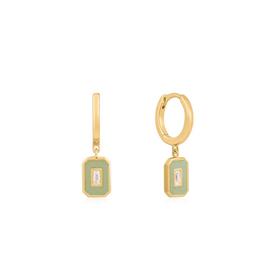 Ania Haie Ania Haie - Sage enamel emblem gold hoop earrings